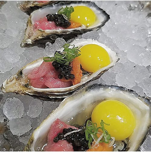 Oyster with Quail Egg Sushi