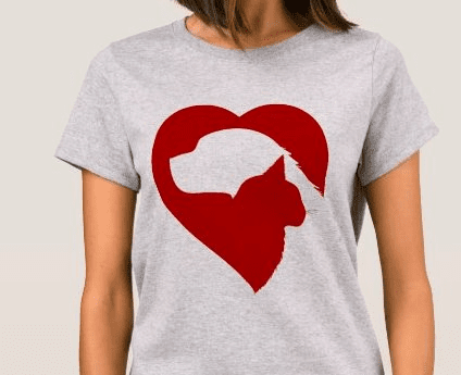 Cat Dog Heart Lg tshirt