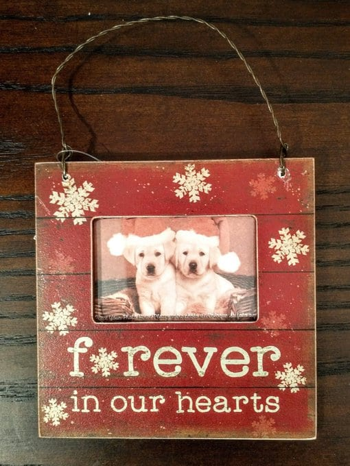 """Forever in our hearts"" photo ornament"